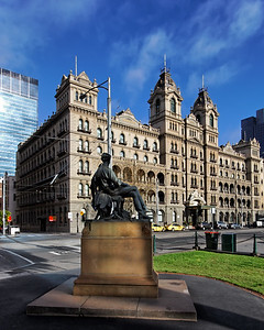 Statue of Adam Lindsay Gordon gazing at The Hotel Windsor  Melbourne
