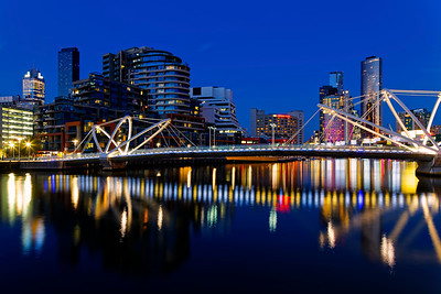 Seafarers Bridge Reflections, Melbourne City CBD, Dusk Cityscape from Docklands, Victoria, Australia (1)