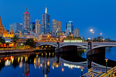 Yarra River Cityscape & Princes Bridge, Melbourne