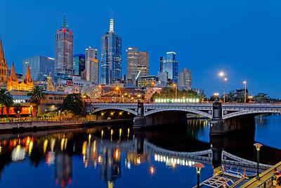 Yarra River Cityscape & Princes Bridge, Melbourne