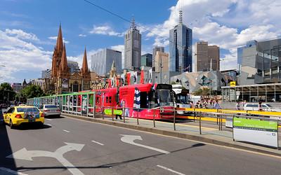 Flinders Street & Federation Square Streetscape, Melbourne