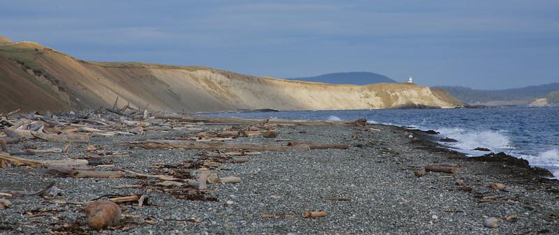 South Beach sand dunes and Cattle Point lighthouse - San Juan Island, Washington