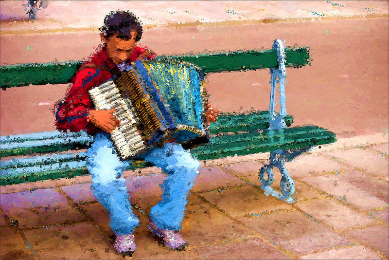 """Street Musician""<br /> Notre Dame Cathedral<br /> Paris, France"