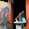 Hand-made tortillas by a Oaxacan food vendor.