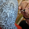 An intricate painting on an elephant.