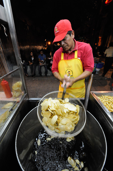 Freshly-made potato chips just outside the Zócalo, the central meeting place in Oaxaca.