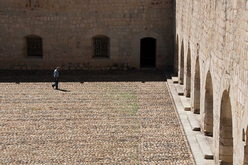 The monestary was founded in 1570 and constructed over a 200 year period. Here's one of the original monks walking through.