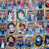 Halloween and Day of the Dead costume pictures posted on a wall outside a grade school.