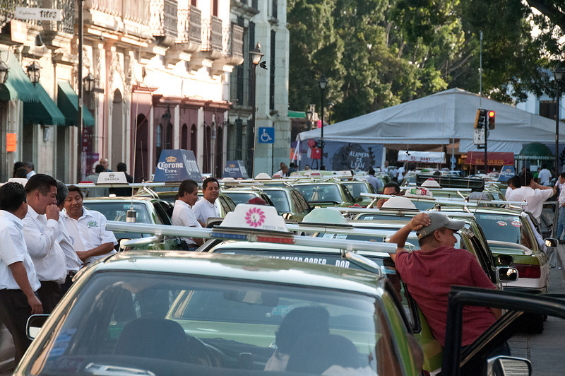 Oaxacan taxi drivers struck on my last day in the city. They wanted the government to stop issuing any more taxi driver permits.