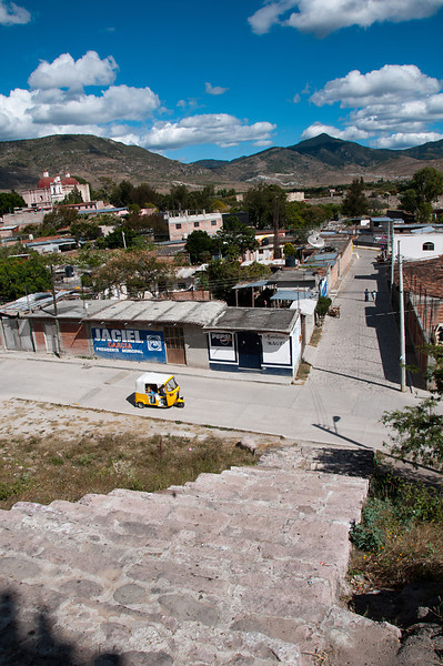 Above the town of Mitla. Three-wheeled taxis seemed to be everywhere in the small communities of the state of Oaxaca.