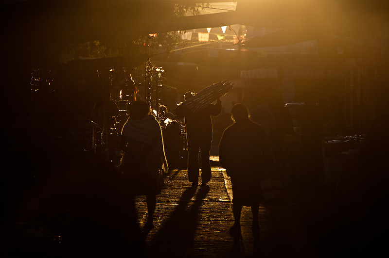 Early morning set-up at the Tlacolula Sunday market.