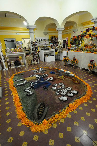 Elaborate Day of the Dead decoration inside a Oaxaca store.