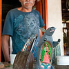 Gabino Reyes and his unusual carving of the Virgin de Guadelupe. I had bought one of Gabino's Guadelupe carvings while on a road trip in Arizona. I couldn't believe it when I actually met the artist at his house in La Unión.