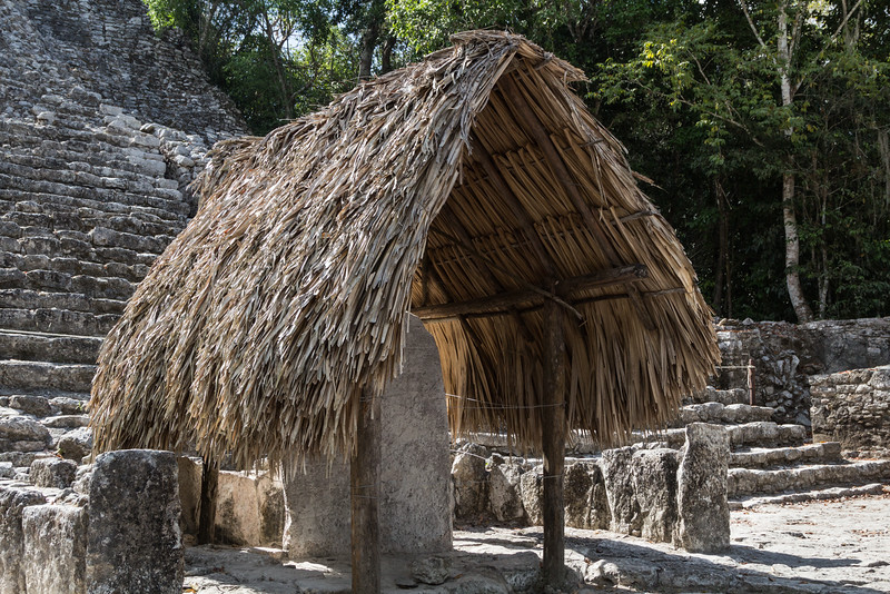 Close up view of the stela under thatched roof at La Iglesia pyramid, Coba, Yucatan Peninsula, Mexico