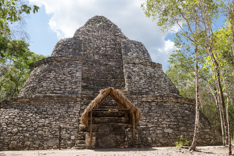Xaibe pyramid (The Lookout Tower) at the Coba ruins, Yucatan Peninsula, Mexico