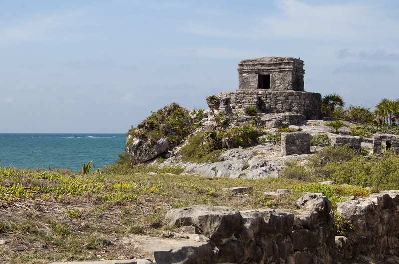 The God of Winds Temple on a cliff in Tulum, Yucatan Peninsula, Mexico