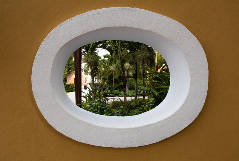 View of a tropical garden through an oval window