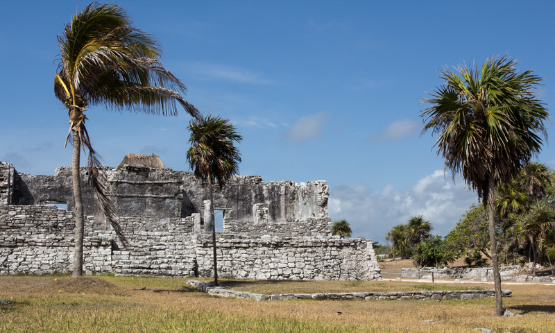 The Great Palace with coconut trees in Tulum, Yucatan Peninsula, Mexico