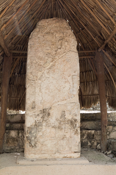 Vertical view of a stela under thatched roof at La Iglesia pyramid, Coba, Yucatan Peninsula, Mexico