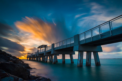 Miami Beach pier long exposure shot in during a beautiful sunrise