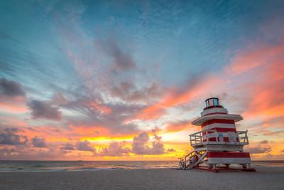 Miami Beach Lifeguard Tower the Jetty at Sunrise