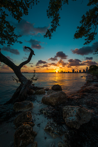Moody Sunset From Key Byscaine Florida