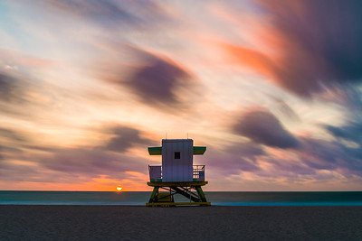 4th Street Lifegurard tower shot at sunrise. Long exposure