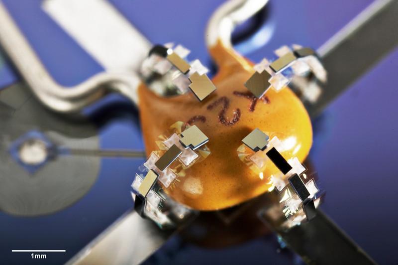 MEMS Microhand grabbing a capacitor, by Professor CJ Kim, UCLA