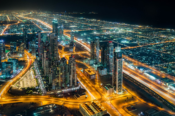 Dubai at night from the Burj Khalifa.
