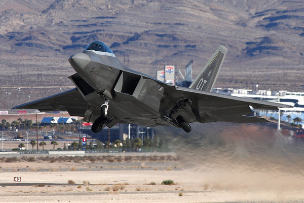 Reg: 00-4012		   Code: OT Operator: USA - United States Air Force Type:  Lockheed Martin F-22A Raptor		   C/n: 645-4012   A USAF Raptor from the 53rd WG, 422nd TES departs its home base of Nellis AFB, Nevada on a Red-Flag mission.     Photo Date: 24 January 2008 Photo ID: 1200419