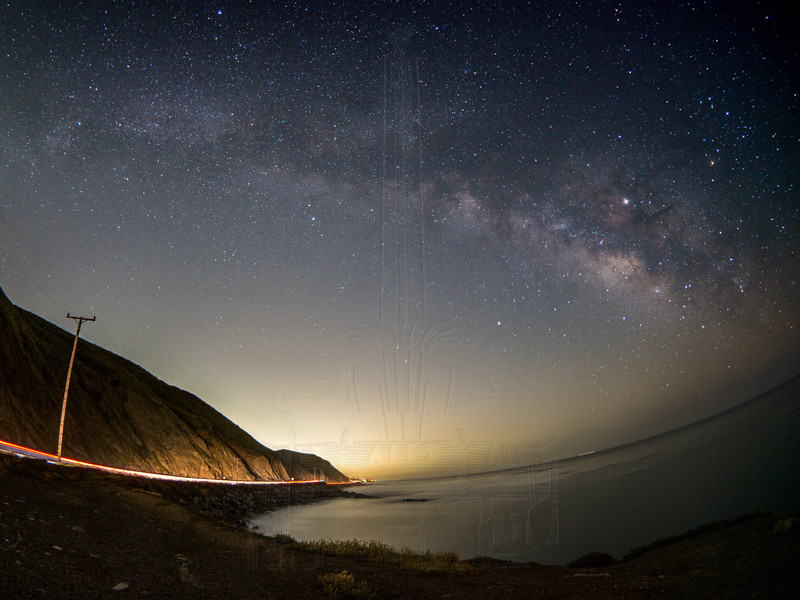 Milky Way from Twin Bush with trafic trails.(fisheye)