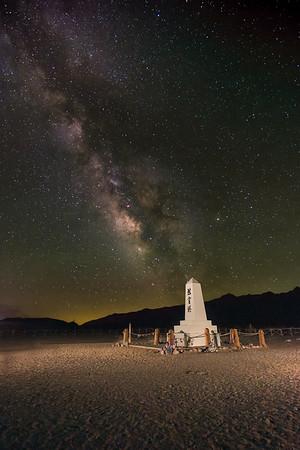 The cemetery at Manzanar under the Milky Way.