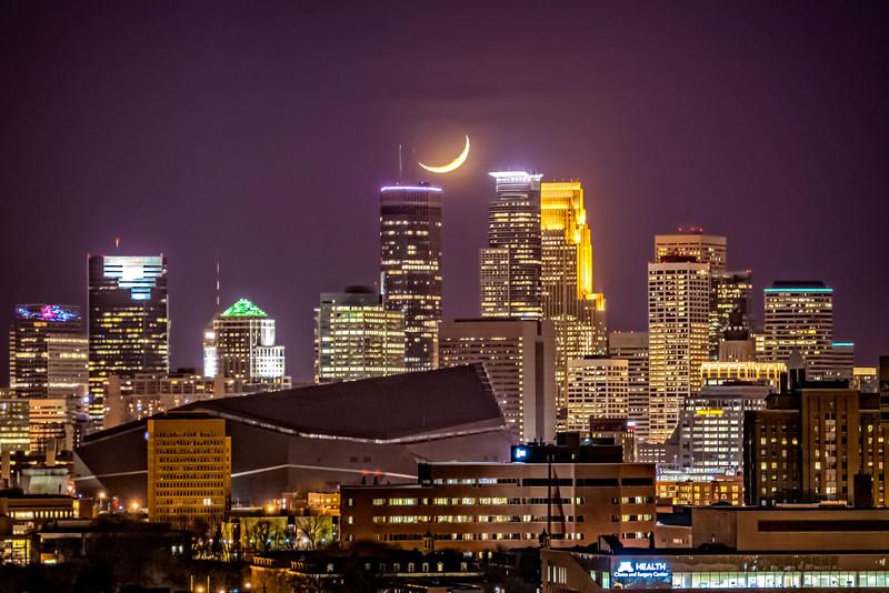 Moonset over Minneapolis