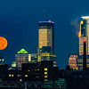 The Supermoon is setting over Minneapolis