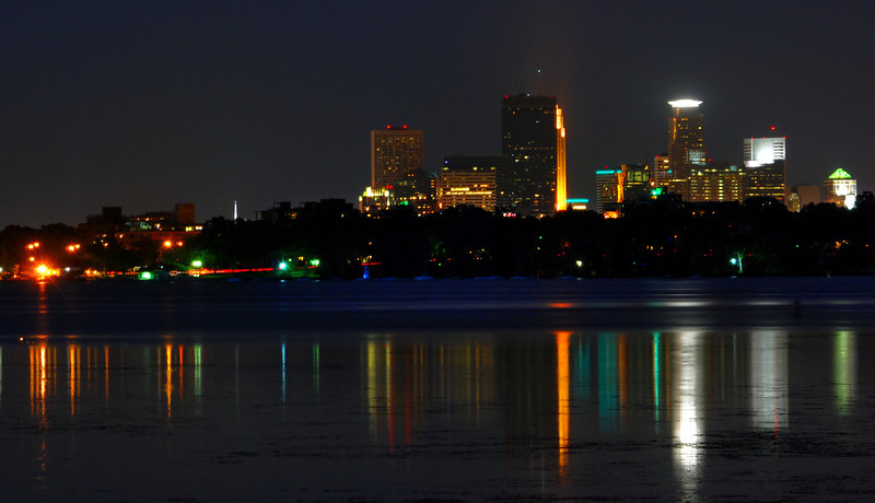Reflections of Minneapolis over Lake Calhoon