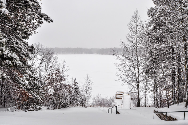 Sibley Lake Fishing Pier Winter Scene