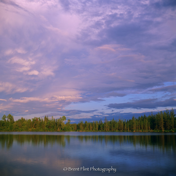 S.3374 - lake and cloud formations at sunset, Savanna State Forest, MN.