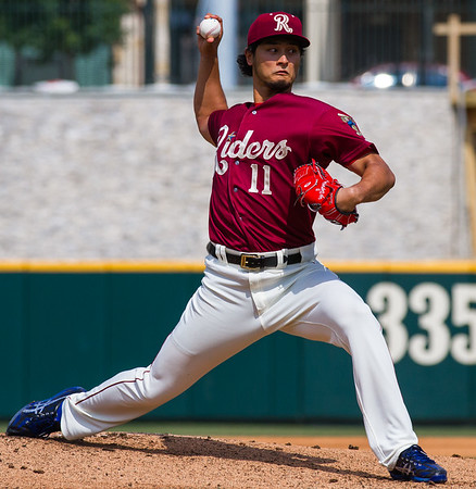 Frisco RoughRiders' Yu Darvish pitches in the first inning of a game against the San Antonio Missions at Dr. Pepper Ballpark in Frisco, Texas, Sunday, May 22, 2016. (Photo by Sam Hodde)