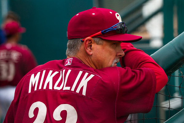 Frisco RoughRiders manager Joe Mikulik waits in the dugout before a game against the Midland RockHounds at Dr. Pepper Ballpark in Frisco, Texas, Sunday, May 8, 2016. (Photo by Sam Hodde)