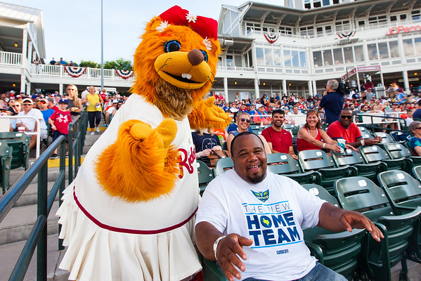 Frisco RoughRiders mascot Daisy entertains fans between innings of an MiLB game against the Corpus Christi Hooks at Dr. Pepper Ballpark in Frisco, Texas, Sunday, June 26, 2016. (Photo by Sam Hodde)