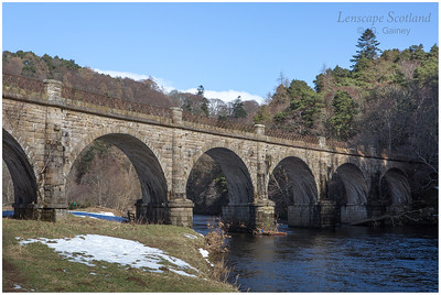 Disused railway bridge over River Tweed near Peebles