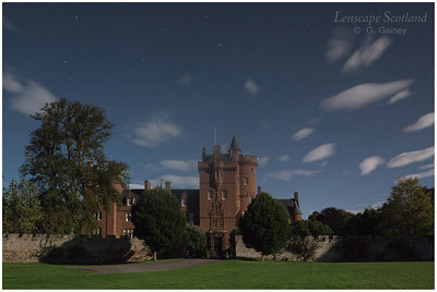Beaufort Castle, Beauly, by light of a full moon
