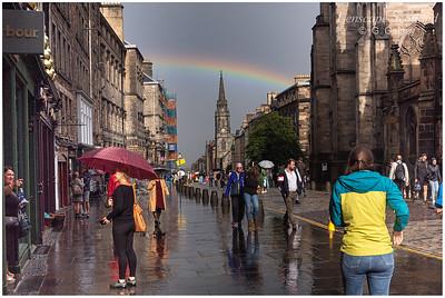 Rainbow over the High Street on Edinburgh's Royal Mile