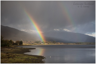 Rainbow and hail showers, Loch Carron