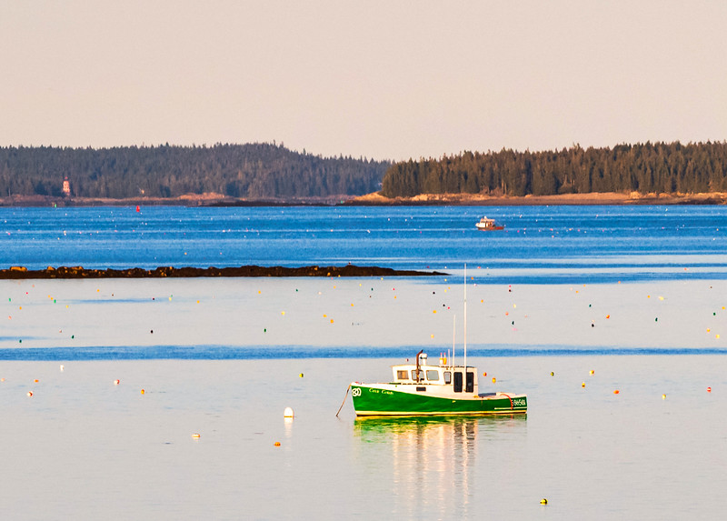 Anchored lobster boat surrounded by uniquely colorful lobster trap buoys - Maine
