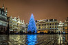 Grand Place Brussels – Christmas market in Brussels on a wet evening.