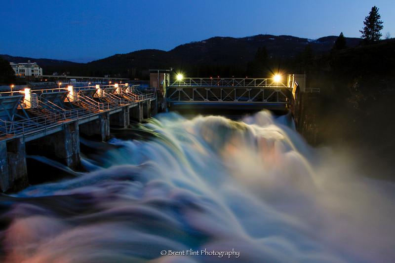 DF.2831 - Post Falls Dam at night, Post Falls, ID.