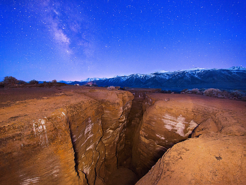 The Fissures Looking West at Dawn with the Setting Milky Way