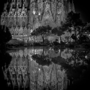 Mirror Image The lake outside the Sagrada Familia church in Barcelona, Spain.