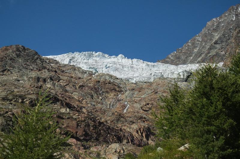 Glacier dans la vallée de Saas Fee